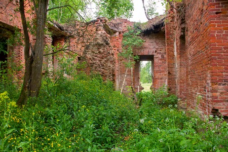 Majestic Ruins of stables and headquarters of hussars of 19th century 2 Stock Photo