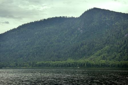 mountain lake beautiful and remote beaches. Teletskoye in Altai mountain lake
