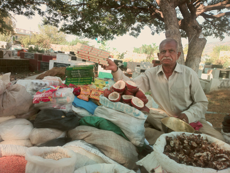 veda: India, Anantapur - February 1, 2016: Vedic food. Street vendor (Hawker) of vegetables and legumes: lentils, chickpeas, Turkish peas, mung beans, beans.