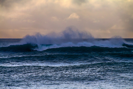 huge waves of swell rolling in Western Pacific (Aleut-Commander Islands)