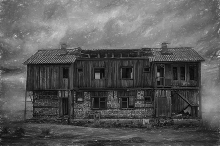 nightmarish: terrible lonely house. empty house in Arctic with ghosts