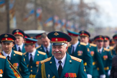 Russia, Saint Petersburg - May 9, 2017: Soldiers on parade in new uniform on city streets Stock Photo