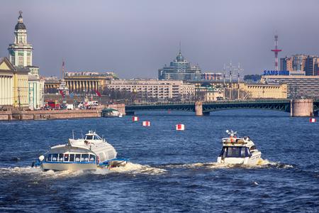 Russia, Saint Petersburg - may 1, 2017: Palace bridge over Neva river Stock Photo