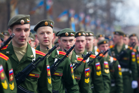 batallón: Russia, Saint Petersburg - May 9, 2017: Soldiers on parade in new uniform on city streets Editorial