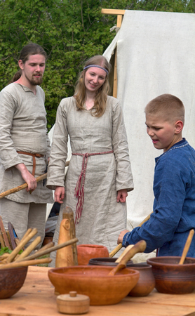 ethno: Russia, Saint-Petersburg - may 28, 2017: Pastiche of Slavic families in ethnographic Viking festival, cultural tradition,custom