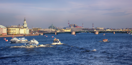 Russia, Saint Petersburg - may 1, 2017: Palace bridge over Neva river Editorial