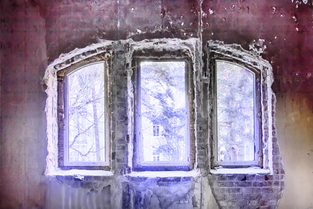 Transition to another world - from reality to mystical feeling. View of house and trees through old crumbling window, rays of light. HDR-filter, fantasy style