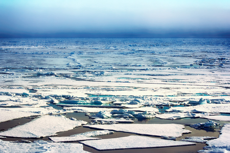 ice at North pole and near (from 84 to 90 degrees) in 2016. Rare now perennial ice broken by nuclear icebreaker. Broken ice behind (channel)