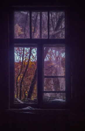 glass breakage, danger. big window with blue glass destruction