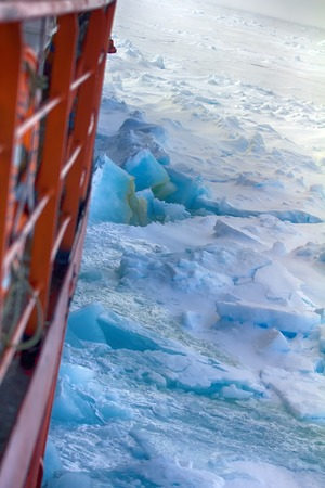 Nuclear-powered icebreaker solivet powerful first-year ice on way to North pole, 89 degrees 2016 Stock Photo