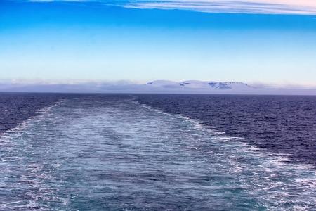 Icebergs, glaciers, growlers in Arctic ocean. Franz Joseph Land. British channel Stock Photo