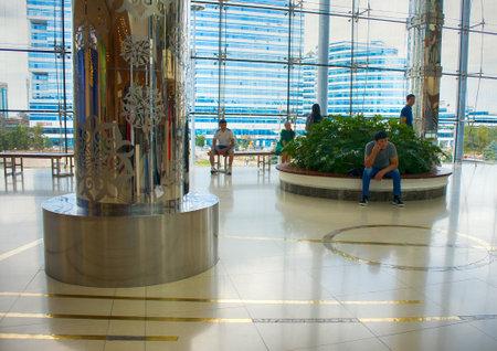 Astana, Kazakhstan - July 17, 2016: New capital of Kazakhstan city Astana. Modern shopping complex with carrousel entertainment