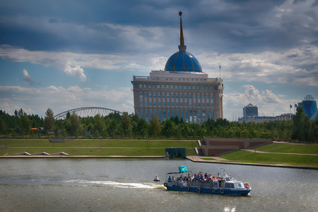 New capital of Kazakhstan city Astana. view of river from bridge Editorial