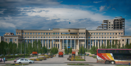 Astana, Kazakhstan - July 17, 2016: Colorful entry into capital of Kazakhstan - Astana - elements of Soviet decoration style, Stalins empire. post-Soviet architecture 에디토리얼