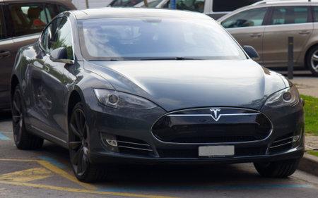 Spain, Loret de Mar - October 4, 2017: Tesla super electric car Editorial