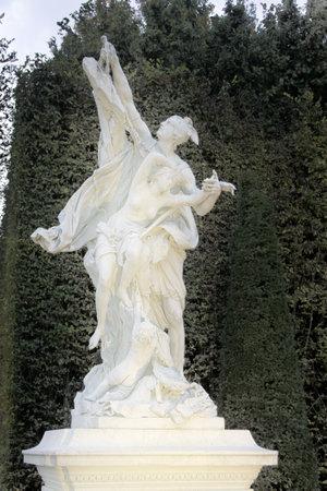 Versailles, France - September 26, 2017: park of Versailles in fall, garden sculpture Perseus frees Andromeda. Royal residence. Palace and Park ensemble era of Sun king, suburbs of Paris