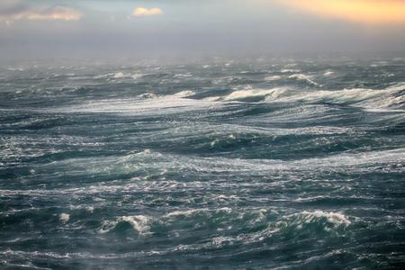 Glacier breeze, katabatic wind. Bora, dangerous wind in the Arctic ocean, Novaya Zemlya, Russia Stock Photo
