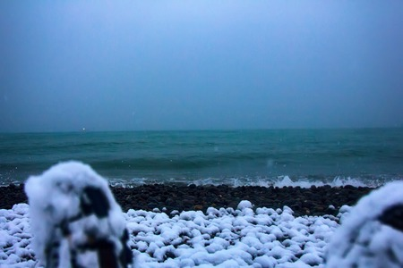 Traveler got to sea, achieving concept, advance, track record. Unexpected winter in Colchis These feet reached Colchis to Eastern shore of Euxine (Black sea), where Odysseus traveled for Golden fleece Stock Photo