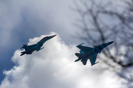 Saint Petersburg, Russia, May 9, 2017: Russian military aircraft Su-33 (NATO codification: Flanker-D) carrier-based fighter of fourth generation Editorial