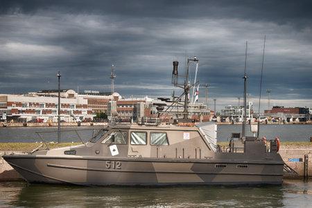 Helsinki, Finland - August 22, 2017: Special high-speed border vessel. Finnish-High-Speed-Landing-Craft, coast guard motor boat, external border control Redactioneel