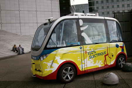 Paris, France - September 25, 2017: electric car type tuk-tuk in Europe Editorial