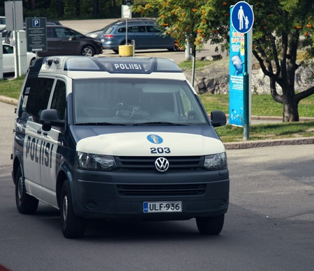 Helsinki, Finland - August 22, 2017: Police car VIN Volkswagen on the streets, special vehicle