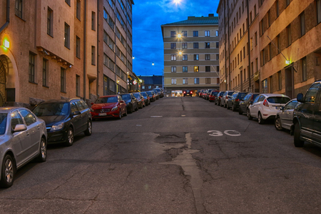 HELSINKI, FINLAND - AUGUST 23, 2017: Evening capital of Finland. Street of old residential blocks, deserted street, empty street