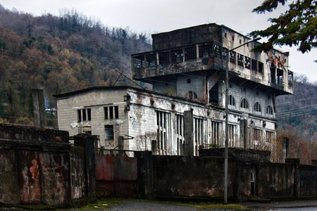 Abandoned Soviet-built factory in mountains. Economic crisis, industrial collapse. Abkhazia, sluggishness of economy, comatose economy, stagnation Sajtókép
