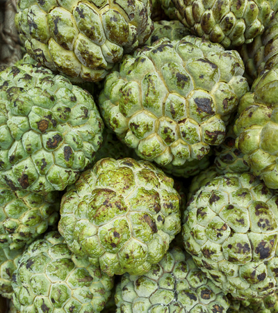 Vegetables and fruits in Indian Bazaar. Noyna, sugar Apple, Annona Guanabana taste similar to persimmon with a slight apricot aroma Stock Photo