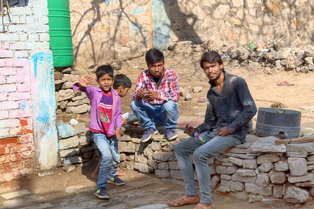 India, new Delhi - March 2, 2018: youth and boys have fun in the yard. Daily life in Indian cities and villages, street photo sketches