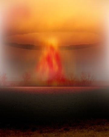 atomic explosion mushroom on planet earth