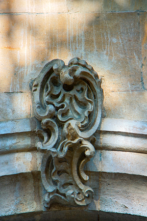 Stone decorative masverk in ancient Cathedral. Architectural details on building, stone carving, aesthetic frills.