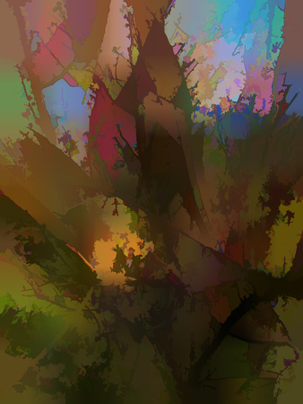 Abstraction of the forest (coniferous forest). Sample for furniture design. The segmented background