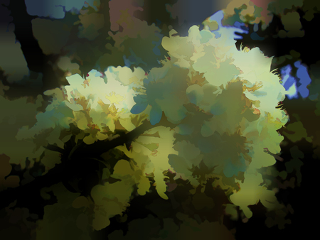 Abstraction of the forest (deciduous forest). Sample for furniture design. The segmented background