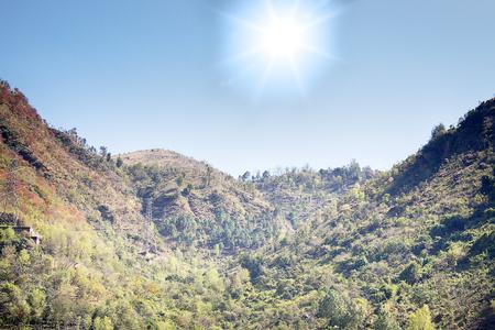 Spring mountain landscape of Outer Himalayas, Himachal Pradesh, India