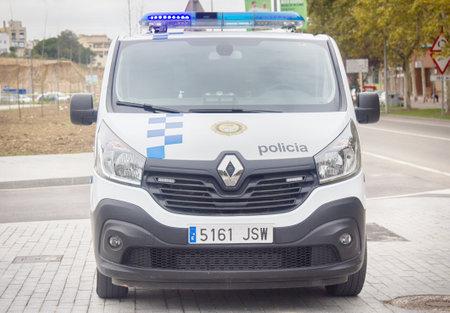Spain, Leora de Mar - October 2, 2017: car minivan police service Editöryel