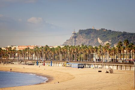 Barcelona, Spain - October 9, 2017: beaches on the Mediterranean coast become empty in October. End of beach season. Primorsky boulevard