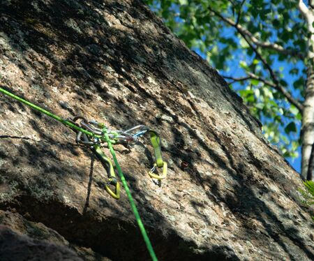 Ready rope safety track for climbing. Active extreme rest in summer for weekend Фото со стока