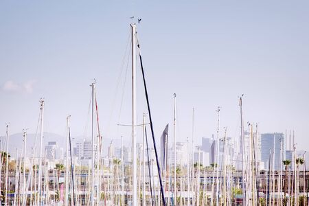 masts of sailing yachts as a timber. Barcelona yacht club