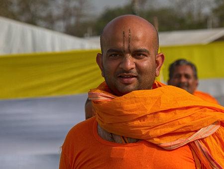 India, new Delhi - March 19, 2018: religious pilgrimage and pilgrim camp, sacred holiday. Portrait of an Indian pilgrim Editorial