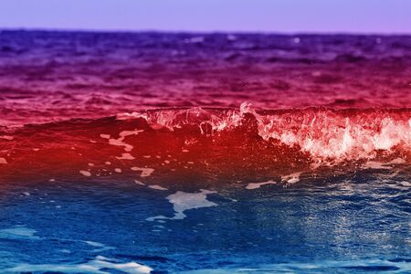 Bright coastal color wave with splashes. Joy to visit the sea on vacation