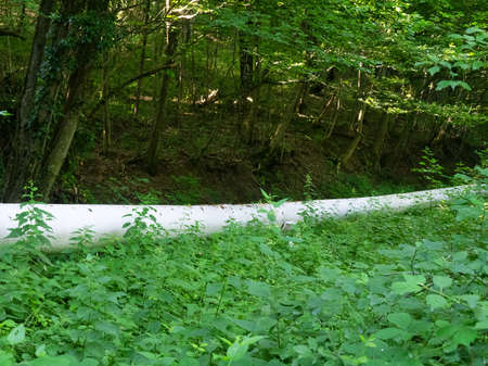 Old-style oil pipeline in forest over streem in Caucasus. Transneft company.