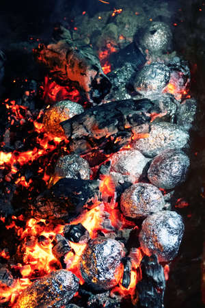hikers food. Pieces of meat are baked in foil on red coals Banque d'images