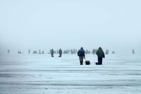 Active recreation on ice in winter. Crowd of fishermen catches large perch on fishing rod on lake Ladoga 免版税图像