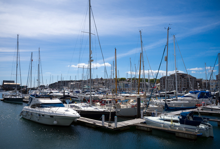 BOATS AND YACHTS MOORED IN PLYMOUTH MARINA