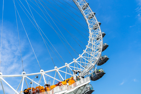 London Eye and blue sky, United Kingdom, 21 May 2018