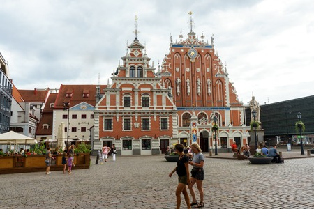 City Hall Square with House of the Blackheads and Saint Peter church in Riga Old Town, Latvia, July 24, 2018 Sajtókép