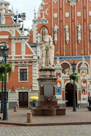 City Hall Square with House of the Blackheads and sculpture of Saint Roland and Saint Peters Church, Riga Old Town, Latvia, July 24, 2018 Sajtókép