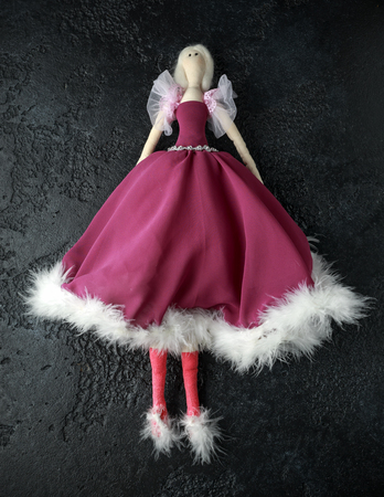 Handmade doll tilda in beautiful dress with white hair
