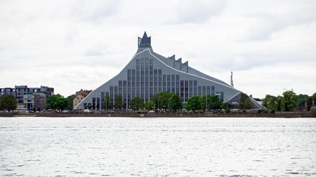 View of the Latvian national library in Riga, Latvia, July 25, 2018